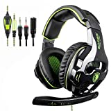 [2018 Neueste Version Xbox One Kopfhörer Gaming Headset] SADES SA810 Stereo Gaming Headset Over-Ear-Kopfhörer mit Mikrofon für Xbox One / PS4 / PC / Mac / Smartphone / iPhone / iPad (Grün)